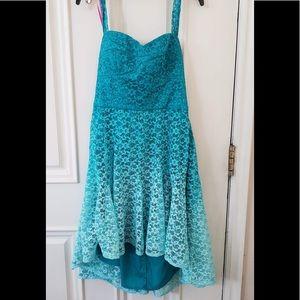 Betsey Johnson Aqua/Blue Ombre Lace Halter Dress